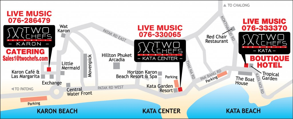 Two Chefs Bar & Grill - Karon Beach Map