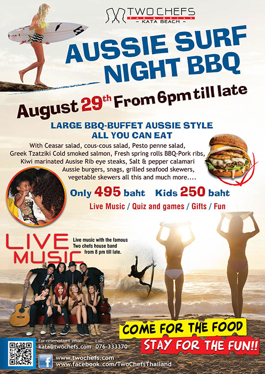 Aussie Surf Night BBQ | Two Chefs Kata Beach | Friday 29th August 2015