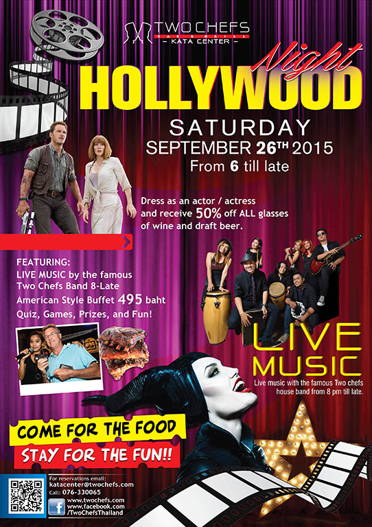It's HOLLYWOOD Night TONIGHT @ Two Chefs KATA CENTER!!!