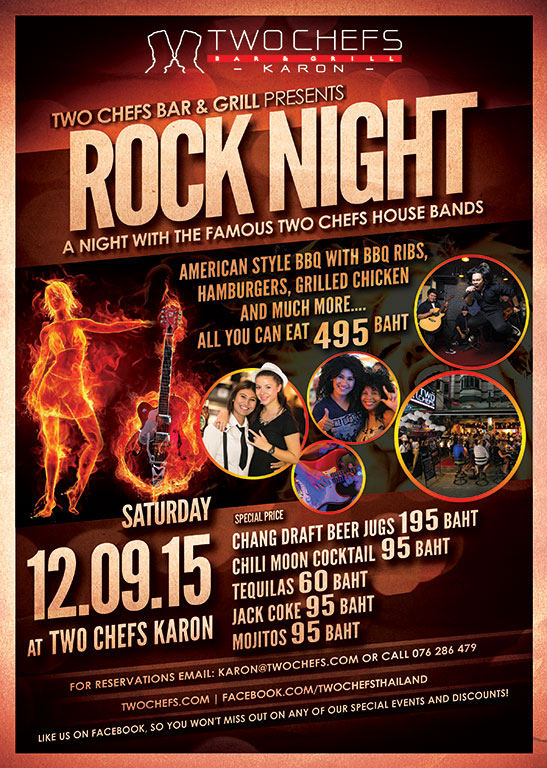 ROCK NIGHT TONIGHT @ TWO CHEFS KARON!!!