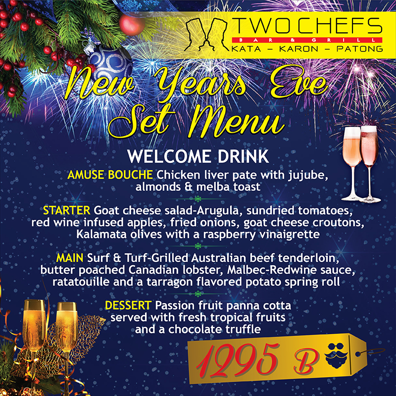 New Year's Eve at Two Chefs on Dec 31, 2018 all branches